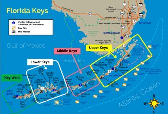 carte des keys de floride : upper, lower, middle