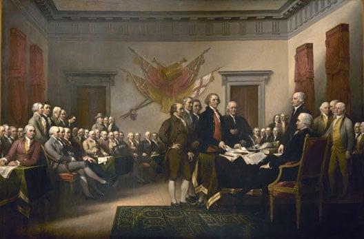le congres des 13 colonies se reunit a philadelphie et adopte la declaration d'independance