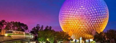 La boule symbole du parc d'epcot à Disney World en Floride