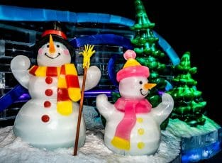 les sculptures de glace de noel du gaylord palms à orlando
