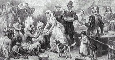 repas partage entre les colons et les amerindiens